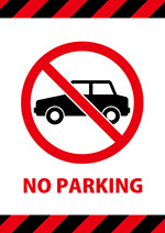 「NO PARKING」(駐車禁止)を表す標識、注意書き張り紙テンプレート