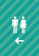 トイレの案内(左向き)張り紙テンプレート