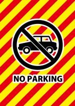 インパクトのある配色の駐車禁止を表す張り紙テンプレート