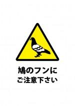鳩のフンの落下を注意する張り紙テンプレート