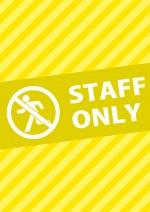 黄色の関係者以外の立ち入り禁止を表すA4サイズ張り紙テンプレート