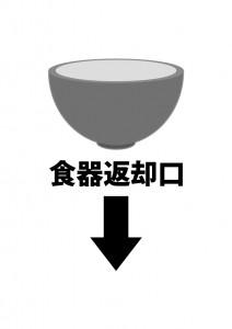 食器の返却場所を表す貼り紙