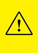 黄色背景のビックリマーク・注意貼り紙テンプレート