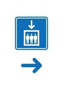エレベーターの案内(右方向)貼り紙テンプレート