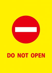DO NOT OPEN 英語の注意貼り紙テンプレート