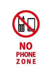 NO PHONE ZONE 携帯禁止を表す英語の注意貼り紙テンプレート