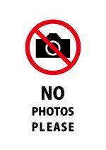 撮影禁止を表す英語の注意貼り紙テンプレート
