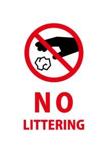 ゴミのポイ捨て禁止を意味する英語の注意貼り紙テンプレート
