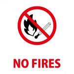 火気厳禁を意味する英語の注意貼り紙テンプレート
