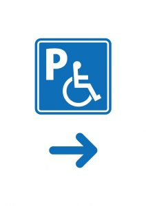 障害者専用駐車場の案内(右方向)注意貼り紙テンプレート