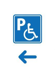 障害者専用駐車場の案内(左方向)貼り紙テンプレート