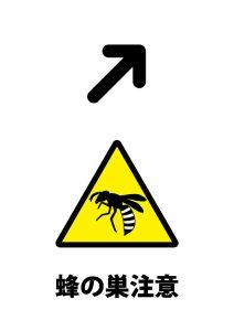 右上方向の蜂の巣注意貼り紙テンプレート