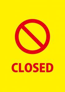 締め切りや閉店を表す英語の注意貼り紙