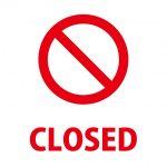 締め切りや閉店を表す注意貼り紙
