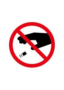 吸い殻ポイ捨て禁止標識アイコンの貼り紙ワードテンプレート
