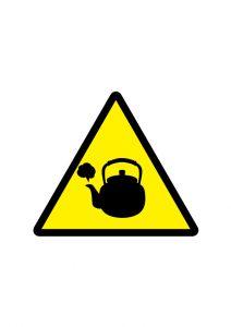 熱湯注意標識アイコンの貼り紙ワードテンプレート
