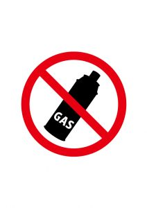 ガスの使用禁止標識アイコンの貼り紙ワードテンプレート