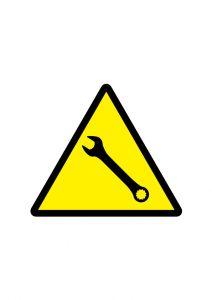 修理中の注意標識アイコンの貼り紙ワードテンプレート