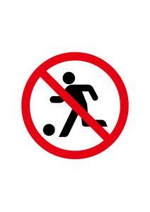球技・サッカー禁止標識アイコンの貼り紙ワードテンプレート