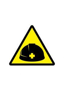 ヘルメット着用推奨標識アイコンの貼り紙ワードテンプレート