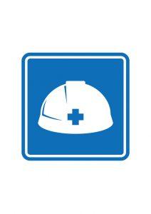 ヘルメット着用案内標識アイコンの貼り紙ワードテンプレート