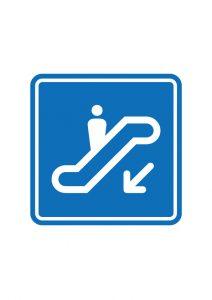 下りエスカレーター案内標識アイコンの貼り紙ワードテンプレート