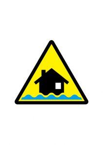 浸水注意標識アイコンの貼り紙ワードテンプレート