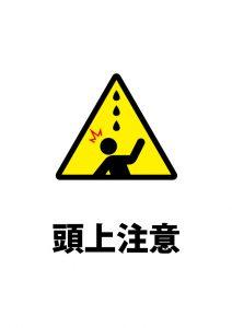 頭上からの水漏れ等注意貼り紙テンプレート