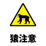 野生の猿への警戒注意貼り紙テンプレート