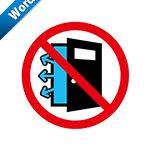 冷房中の開放厳禁標識アイコンの貼り紙ワードテンプレート