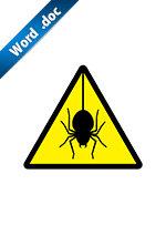 蜘蛛の注意標識アイコンの貼り紙ワードテンプレート