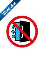 冷房・冷凍扉の開放厳禁標識アイコンの貼り紙ワードテンプレート
