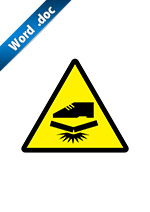 踏付け注意運送標識アイコンの貼り紙ワードテンプレート
