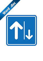 左側通行案内標識アイコンの貼り紙ワードテンプレート