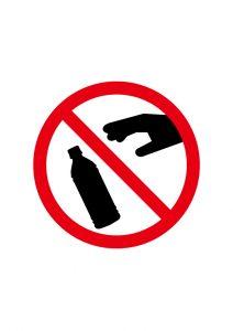 ペットボトルの廃棄禁止標識アイコンの貼り紙ワードテンプレート