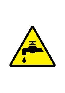 水道注意標識アイコンの貼り紙ワードテンプレート