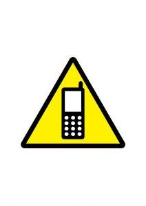 携帯電話の注意標識アイコンの貼り紙ワードテンプレート