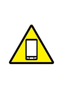 スマートフォンの注意標識アイコンの貼り紙ワードテンプレート