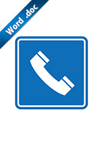 電話の案内標識アイコンの貼り紙ワードテンプレート