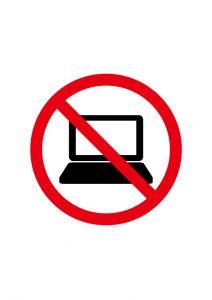 パソコン禁止標識アイコンの貼り紙ワードテンプレート