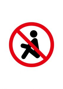 座り込み禁止標識アイコンの貼り紙ワードテンプレート