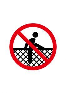 フェンスを登る事の禁止標識アイコンの貼り紙ワードテンプレート