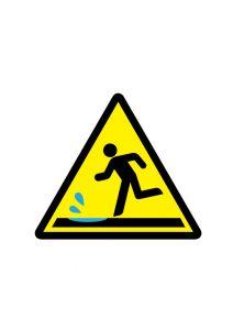 水溜り注意標識アイコンの貼り紙ワードテンプレート