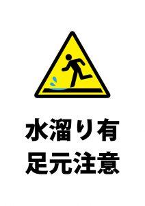 地面の水溜りへの注意貼り紙テンプレート