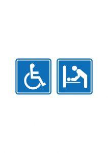 車椅子とベビーチェアの標識アイコンの貼り紙ワードテンプレート