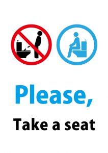 英語でトイレに座って使用をお願いする貼り紙テンプレート