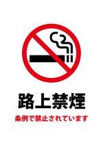 条例による路上禁煙の注意貼り紙テンプレート