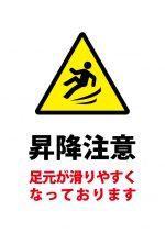 昇降時の足元注意貼り紙テンプレート