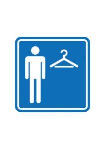 男性用の更衣室・試着室の案内標識アイコンの貼り紙ワードテンプレート