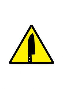 刃物(包丁・ナイフ等)取扱注意のアイコンの貼り紙ワードテンプレート